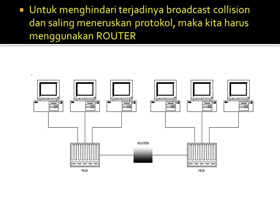 Untuk menghindari terjadinya broadcast collision dan saling meneruskan protokol, maka kita harus menggunakan ROUTER