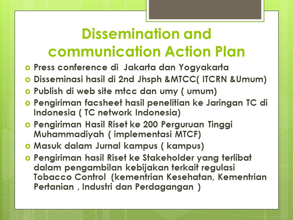 Dissemination and communication Action Plan