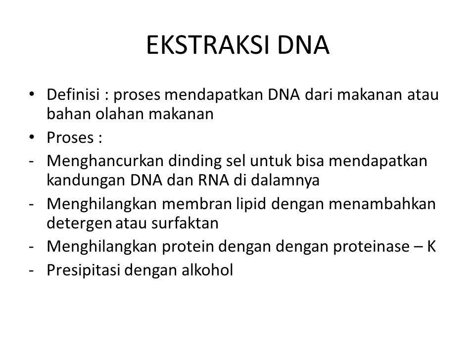 EKSTRAKSI DNA Definisi : proses mendapatkan DNA dari makanan atau bahan olahan makanan. Proses :
