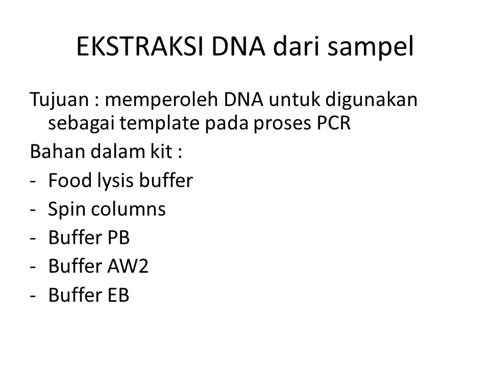 EKSTRAKSI DNA dari sampel