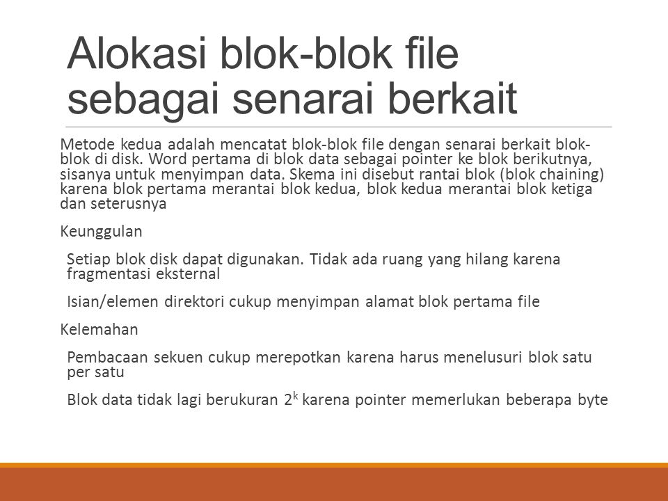 Alokasi blok-blok file sebagai senarai berkait