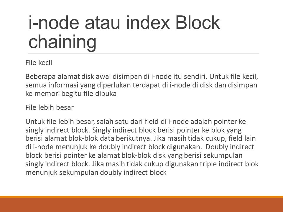 i-node atau index Block chaining