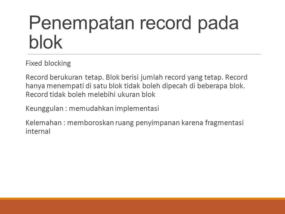 Penempatan record pada blok