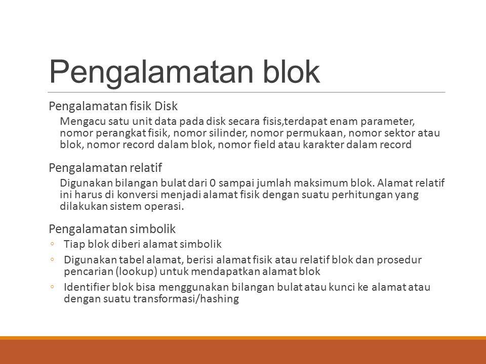Pengalamatan blok Pengalamatan fisik Disk Pengalamatan relatif