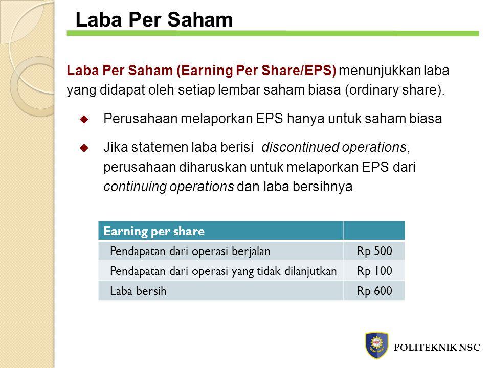 Laba Per Saham Laba Per Saham (Earning Per Share/EPS) menunjukkan laba yang didapat oleh setiap lembar saham biasa (ordinary share).