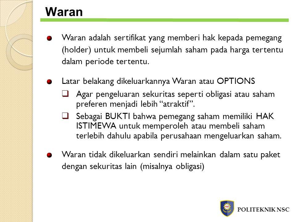 Waran Waran adalah sertifikat yang memberi hak kepada pemegang (holder) untuk membeli sejumlah saham pada harga tertentu dalam periode tertentu.