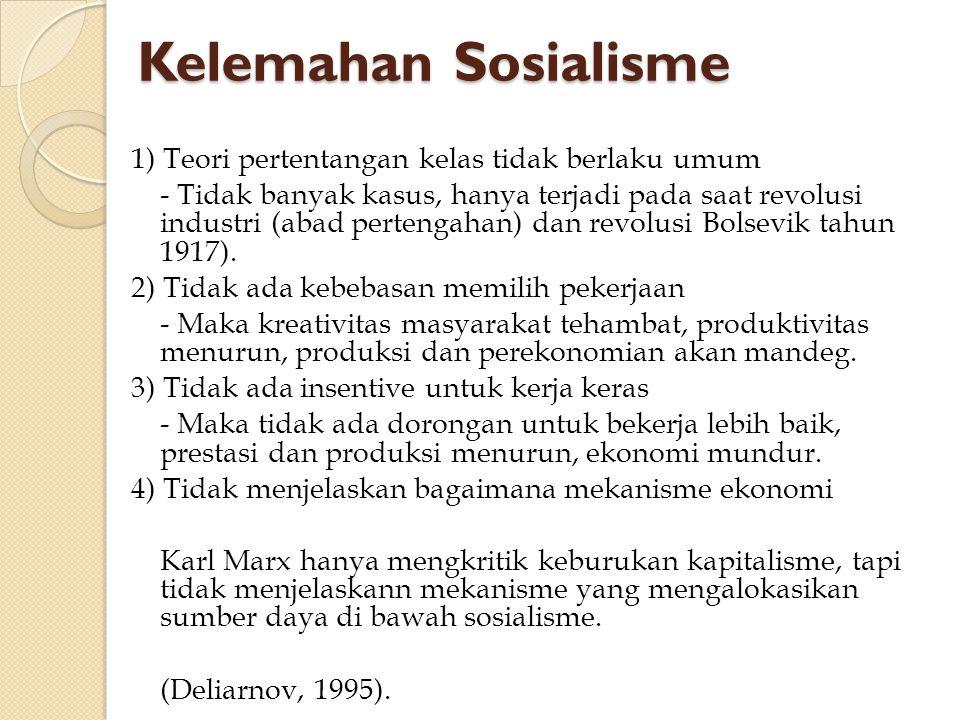 Kelemahan Sosialisme 1) Teori pertentangan kelas tidak berlaku umum