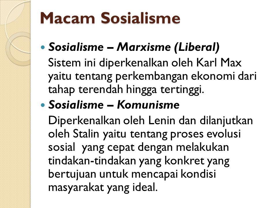 Macam Sosialisme Sosialisme – Marxisme (Liberal)