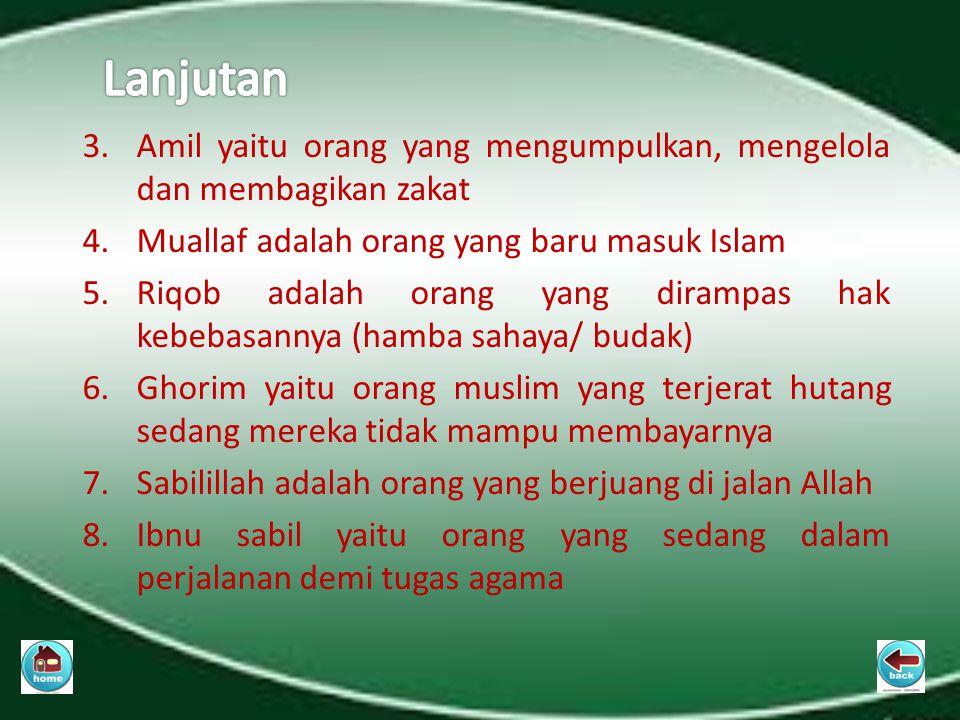 Lanjutan Amil yaitu orang yang mengumpulkan, mengelola dan membagikan zakat. Muallaf adalah orang yang baru masuk Islam.