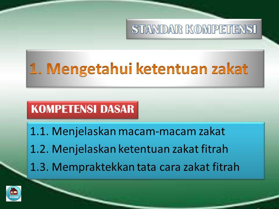 1. Mengetahui ketentuan zakat