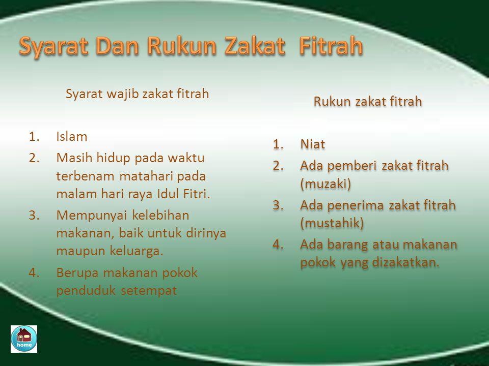 Syarat Dan Rukun Zakat Fitrah