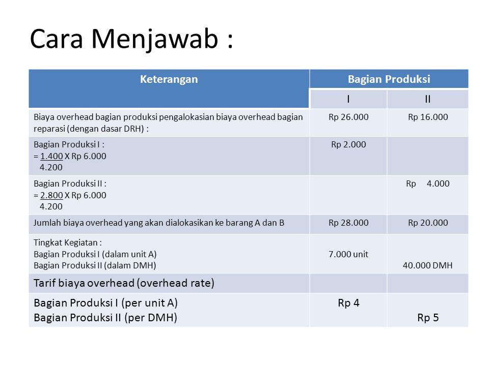 Cara Menjawab : Keterangan Bagian Produksi I II