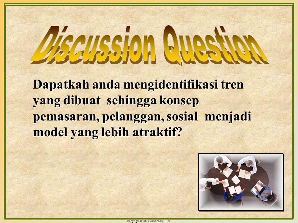 Discussion Question Dapatkah anda mengidentifikasi tren yang dibuat sehingga konsep pemasaran, pelanggan, sosial menjadi model yang lebih atraktif