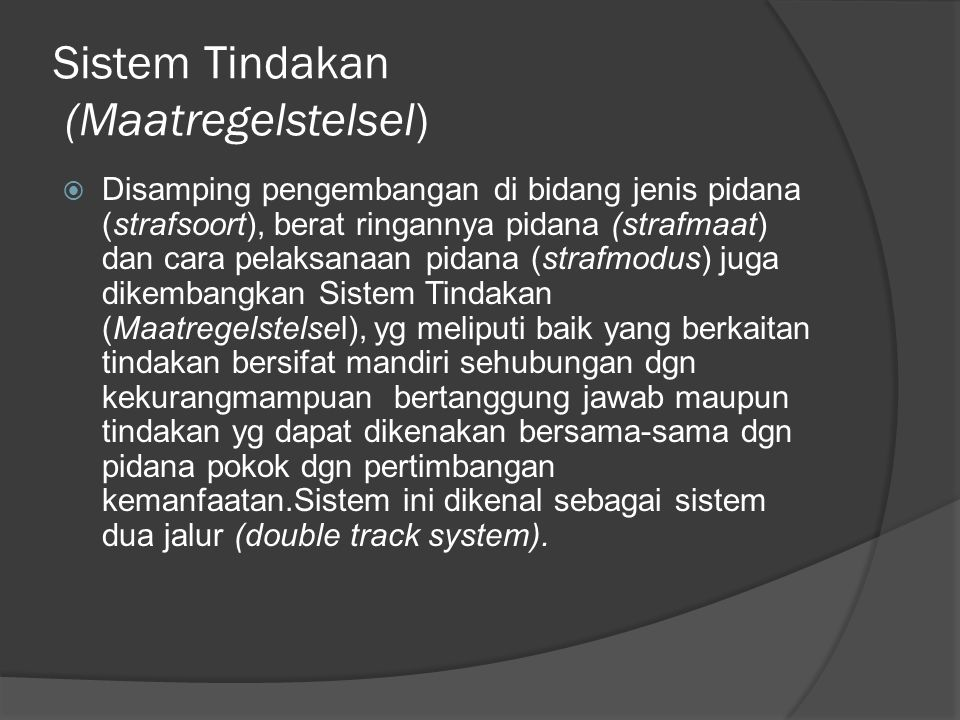 Sistem Tindakan (Maatregelstelsel)