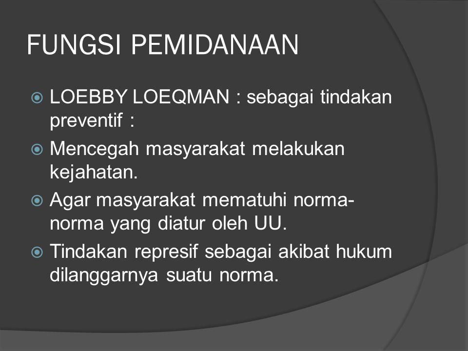 FUNGSI PEMIDANAAN LOEBBY LOEQMAN : sebagai tindakan preventif :