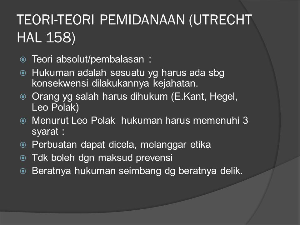TEORI-TEORI PEMIDANAAN (UTRECHT HAL 158)