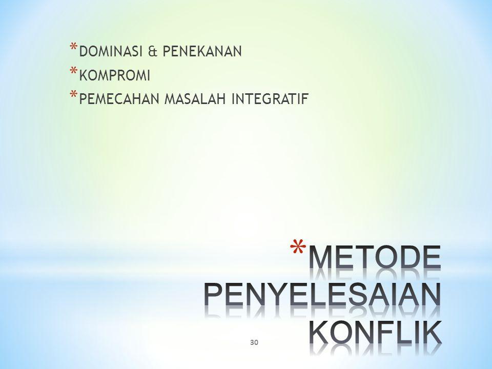 METODE PENYELESAIAN KONFLIK