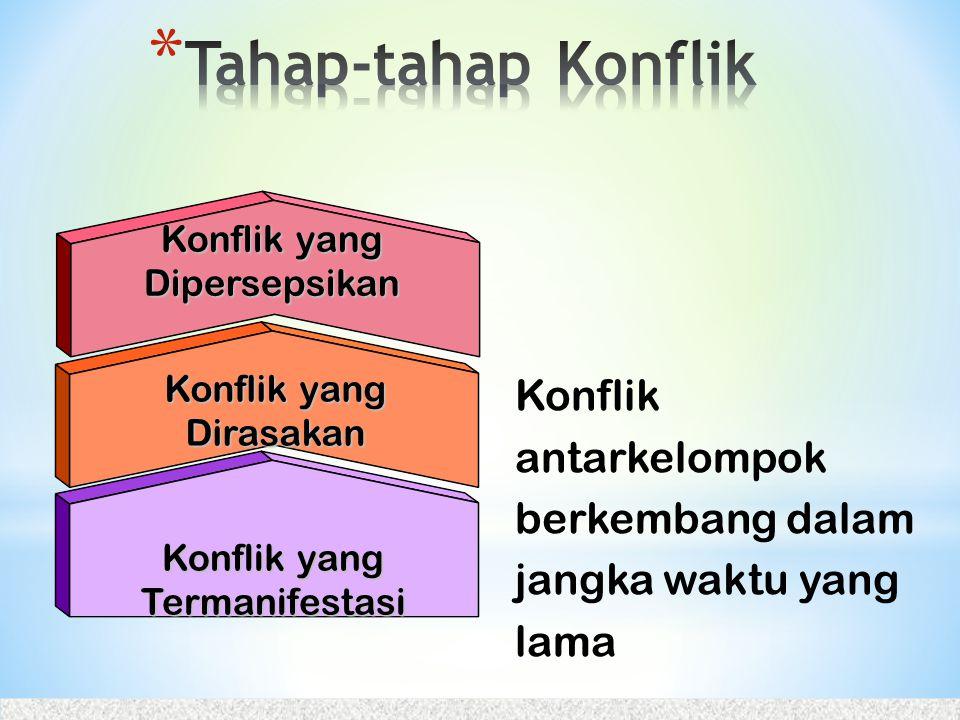 Tahap-tahap Konflik Konflik yang Dipersepsikan. Konflik yang Dirasakan. Konflik antarkelompok berkembang dalam jangka waktu yang lama.