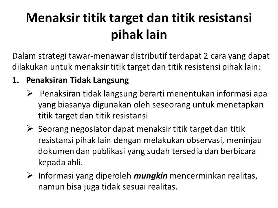 Menaksir titik target dan titik resistansi pihak lain