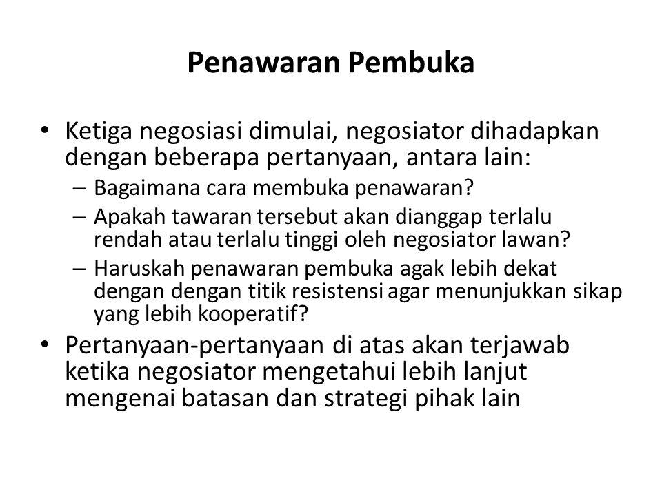 Penawaran Pembuka Ketiga negosiasi dimulai, negosiator dihadapkan dengan beberapa pertanyaan, antara lain: