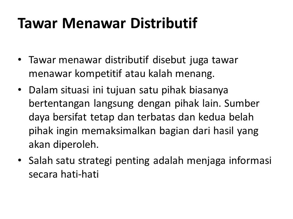 Tawar Menawar Distributif