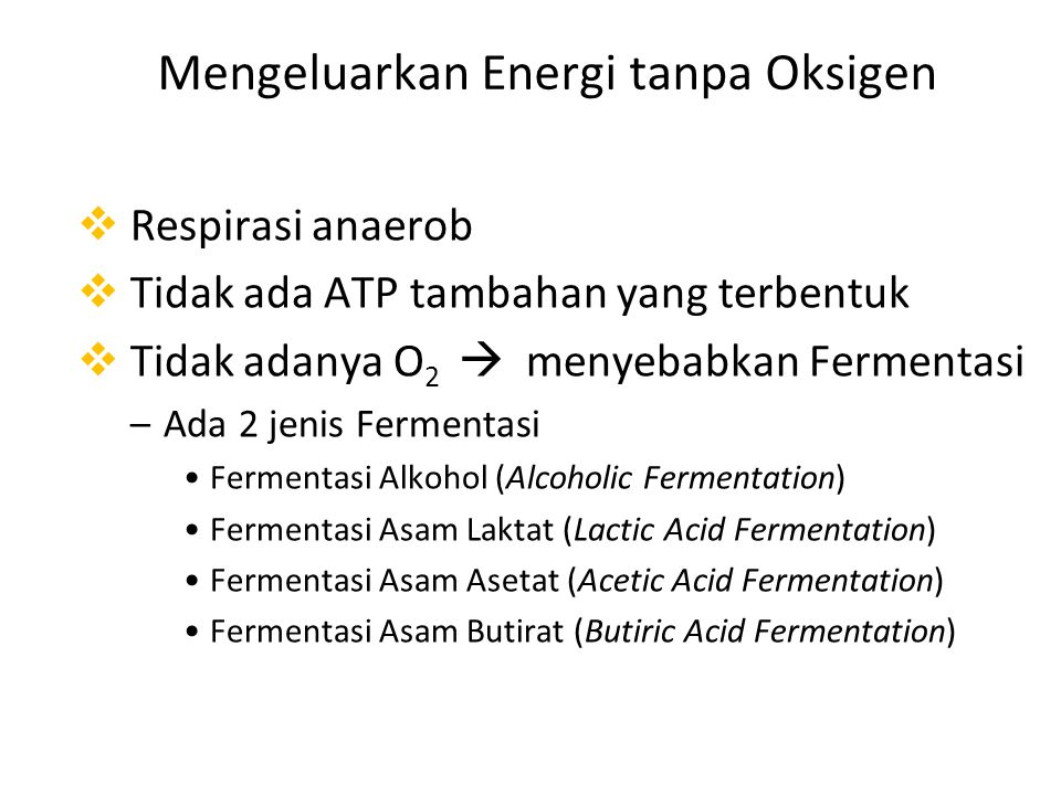Mengeluarkan Energi tanpa Oksigen