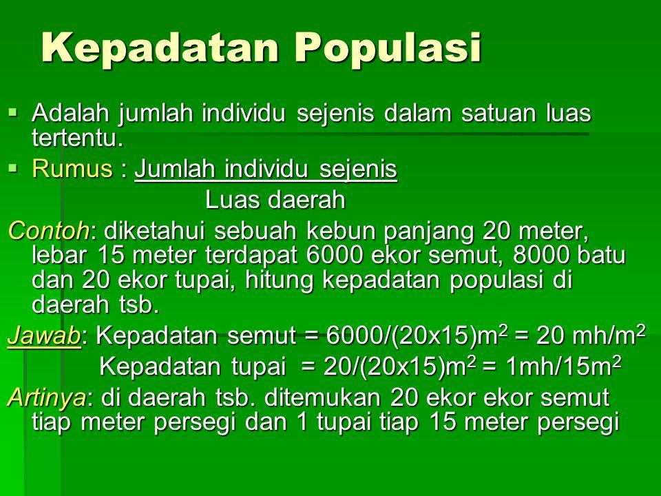 Kepadatan Populasi Adalah jumlah individu sejenis dalam satuan luas tertentu. Rumus : Jumlah individu sejenis.