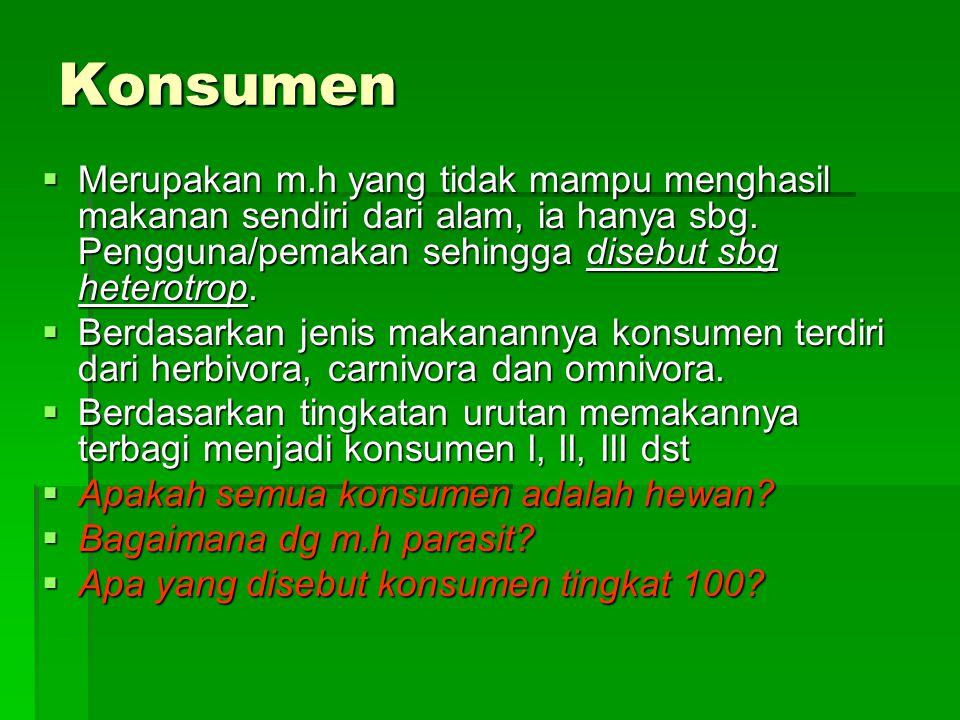 Konsumen Merupakan m.h yang tidak mampu menghasil makanan sendiri dari alam, ia hanya sbg. Pengguna/pemakan sehingga disebut sbg heterotrop.