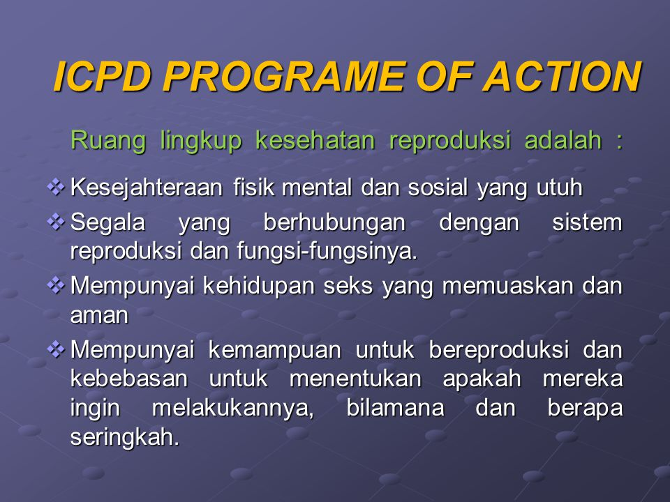 ICPD PROGRAME OF ACTION