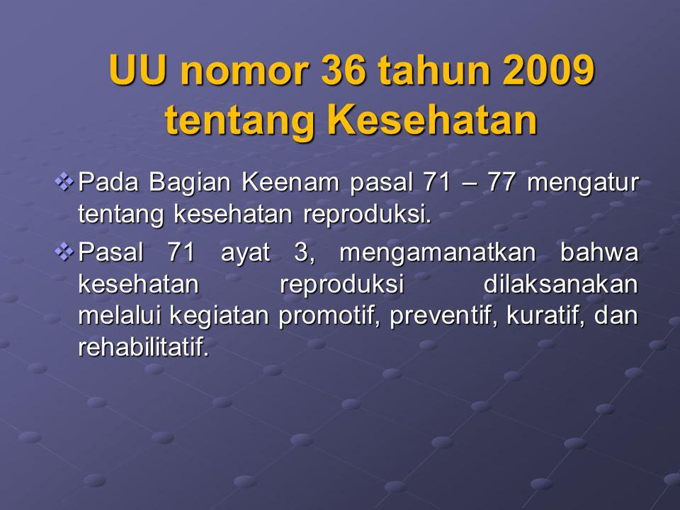 UU nomor 36 tahun 2009 tentang Kesehatan