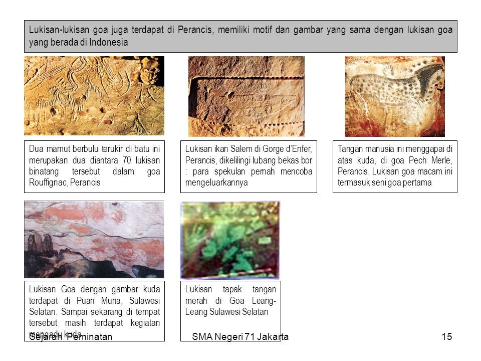 Lukisan-lukisan goa juga terdapat di Perancis, memiliki motif dan gambar yang sama dengan lukisan goa yang berada di Indonesia