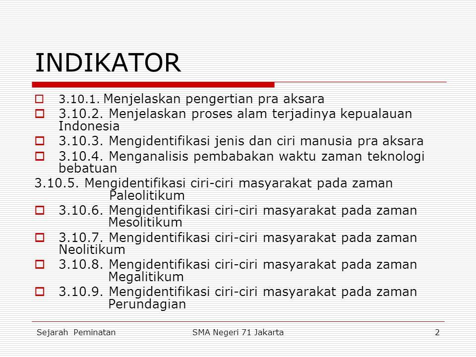 INDIKATOR 3.10.1. Menjelaskan pengertian pra aksara. 3.10.2. Menjelaskan proses alam terjadinya kepualauan Indonesia.