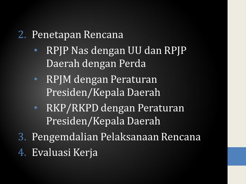 Penetapan Rencana RPJP Nas dengan UU dan RPJP Daerah dengan Perda. RPJM dengan Peraturan Presiden/Kepala Daerah.