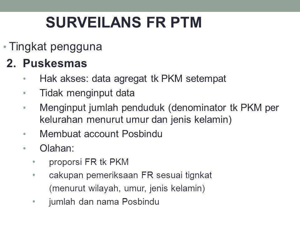 SURVEILANS FR PTM Tingkat pengguna 2. Puskesmas