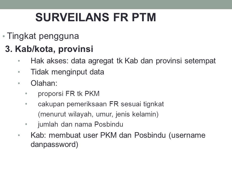 SURVEILANS FR PTM Tingkat pengguna 3. Kab/kota, provinsi