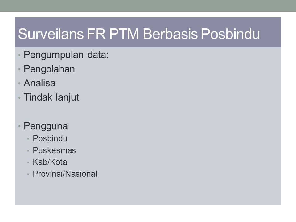 Surveilans FR PTM Berbasis Posbindu