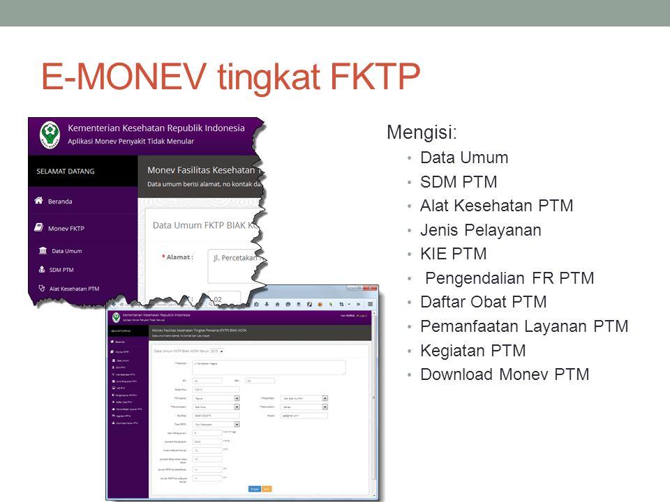 E-MONEV tingkat FKTP Mengisi: Data Umum SDM PTM Alat Kesehatan PTM