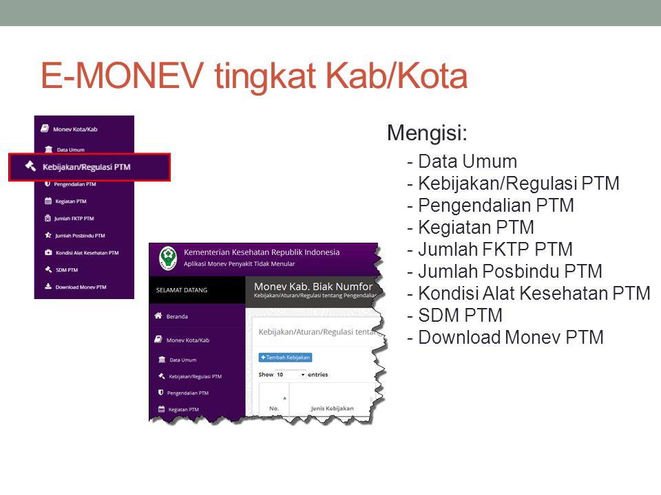 E-MONEV tingkat Kab/Kota
