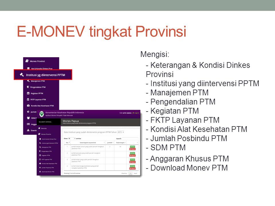 E-MONEV tingkat Provinsi