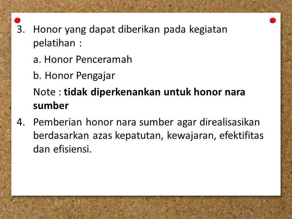 Honor yang dapat diberikan pada kegiatan pelatihan :