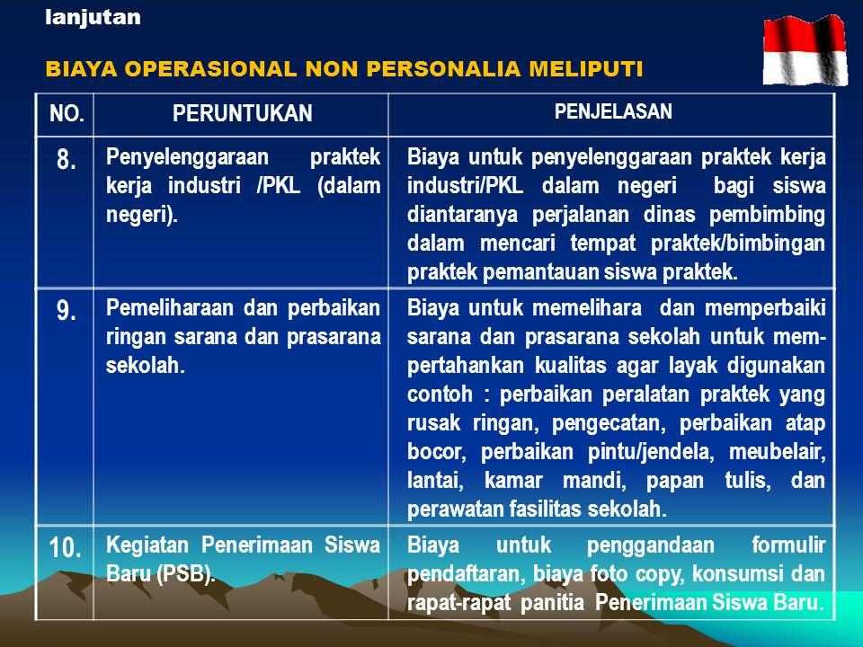 lanjutan BIAYA OPERASIONAL NON PERSONALIA MELIPUTI. NO. PERUNTUKAN. PENJELASAN. 8. Penyelenggaraan praktek kerja industri /PKL (dalam negeri).