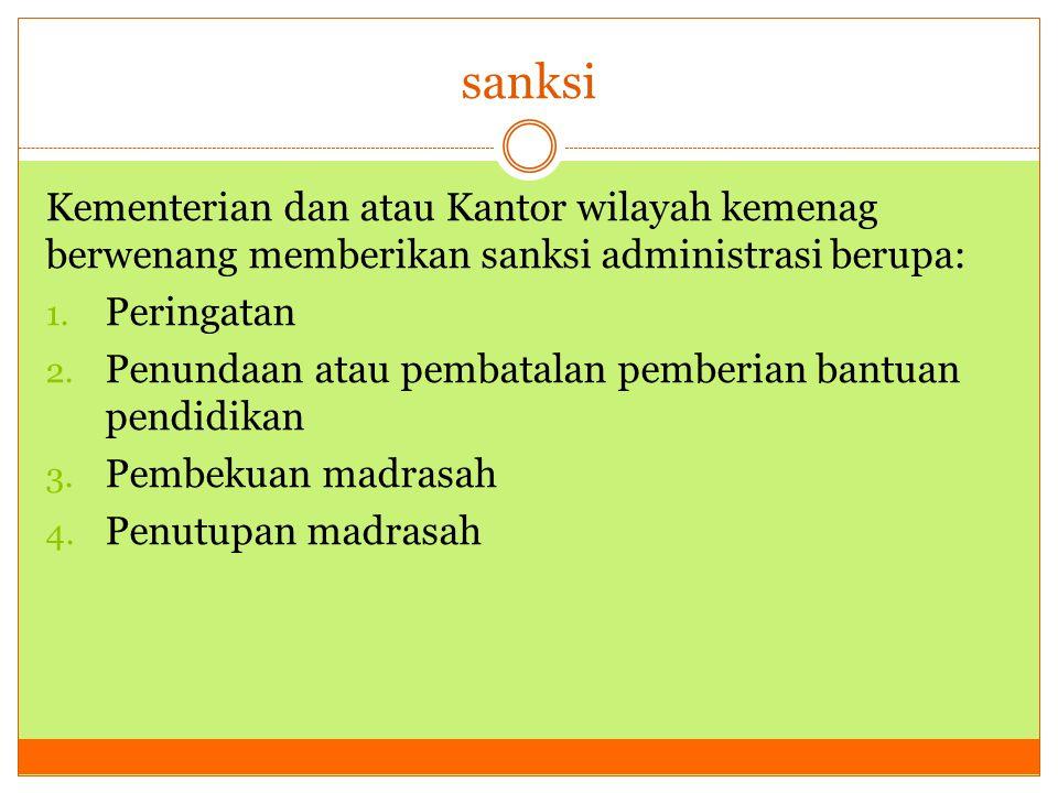 sanksi Kementerian dan atau Kantor wilayah kemenag berwenang memberikan sanksi administrasi berupa: