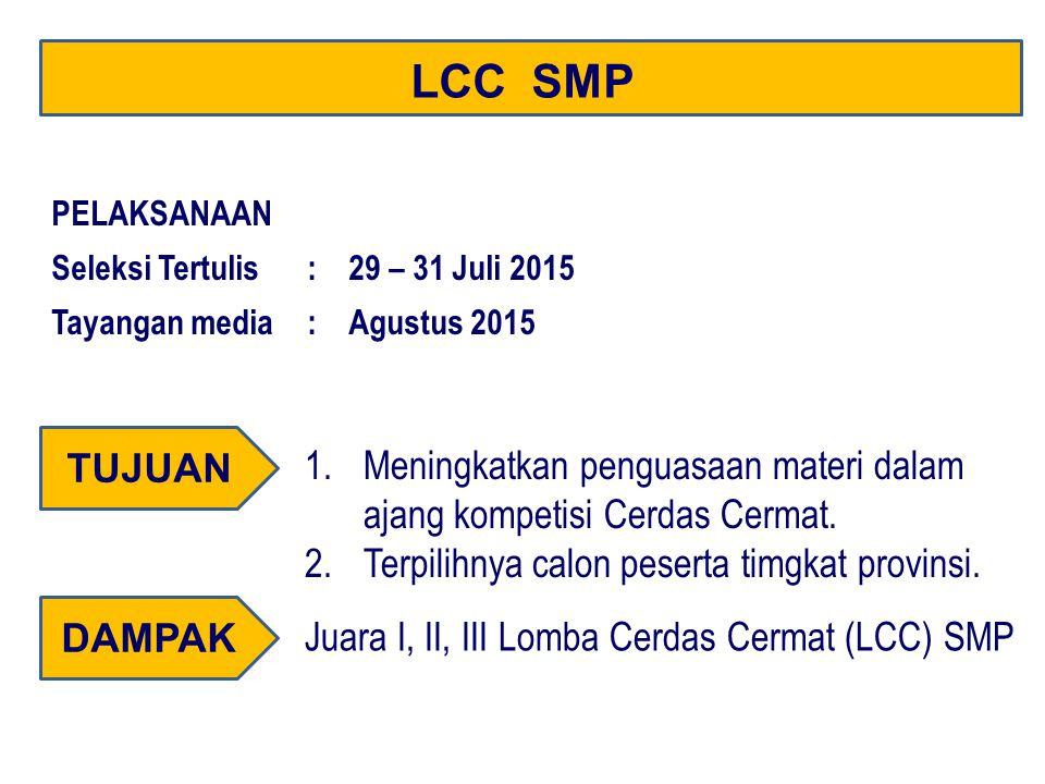 LCC SMP PELAKSANAAN. Seleksi Tertulis : 29 – 31 Juli 2015. Tayangan media : Agustus 2015. TUJUAN.