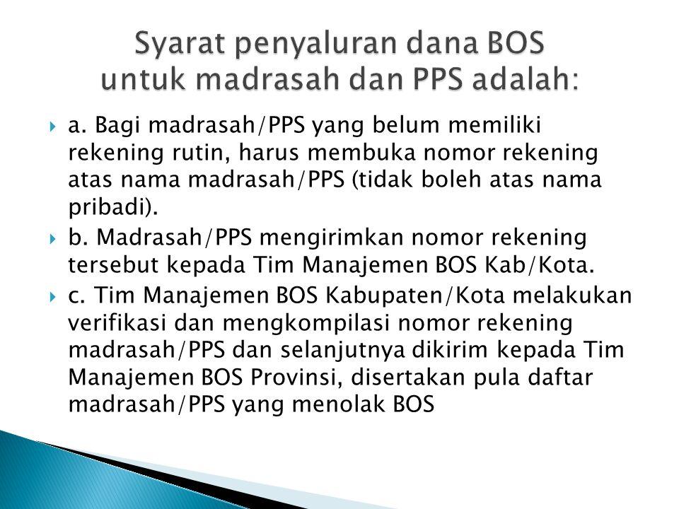 Syarat penyaluran dana BOS untuk madrasah dan PPS adalah: