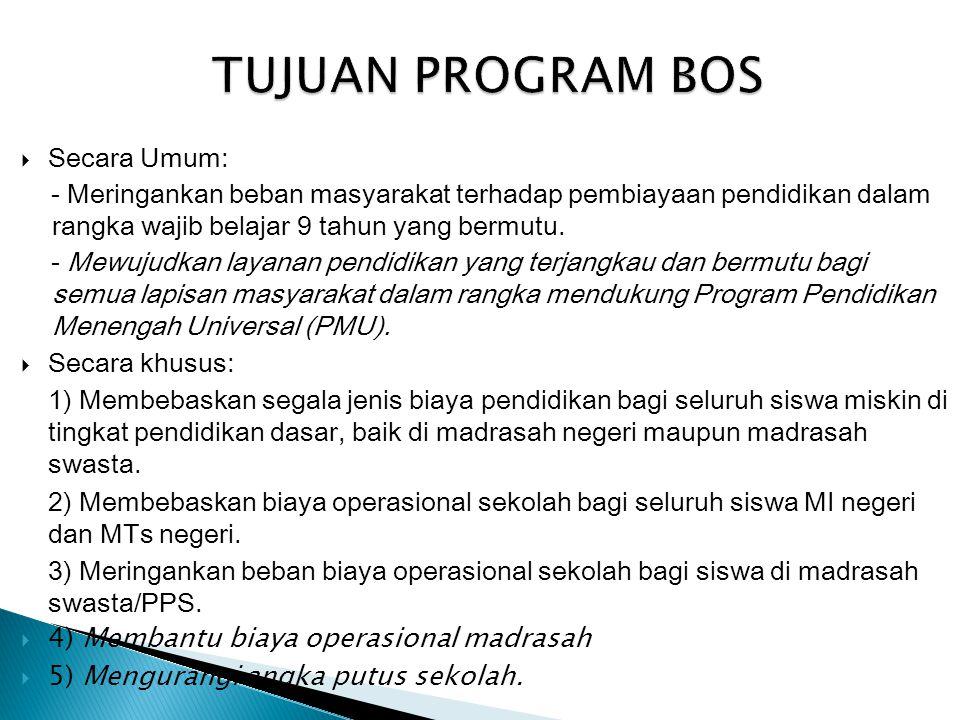 TUJUAN PROGRAM BOS Secara Umum: