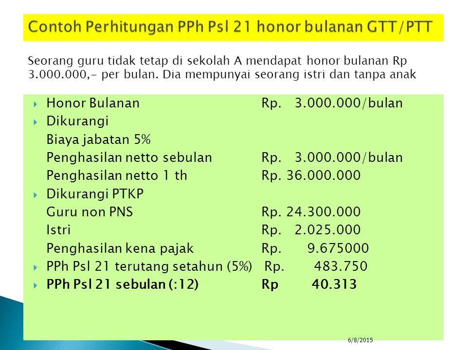 Contoh Perhitungan PPh Psl 21 honor bulanan GTT/PTT