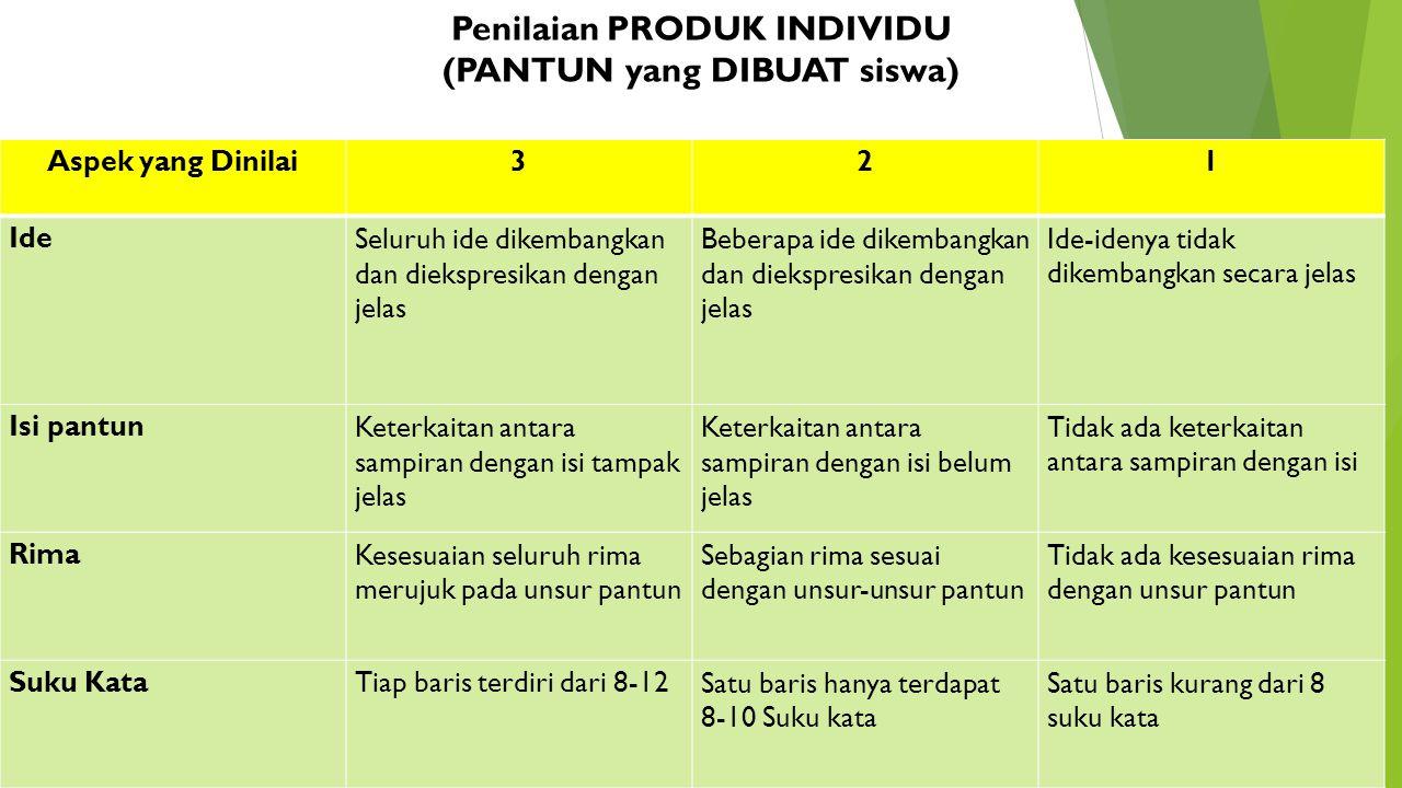 Penilaian PRODUK INDIVIDU (PANTUN yang DIBUAT siswa)