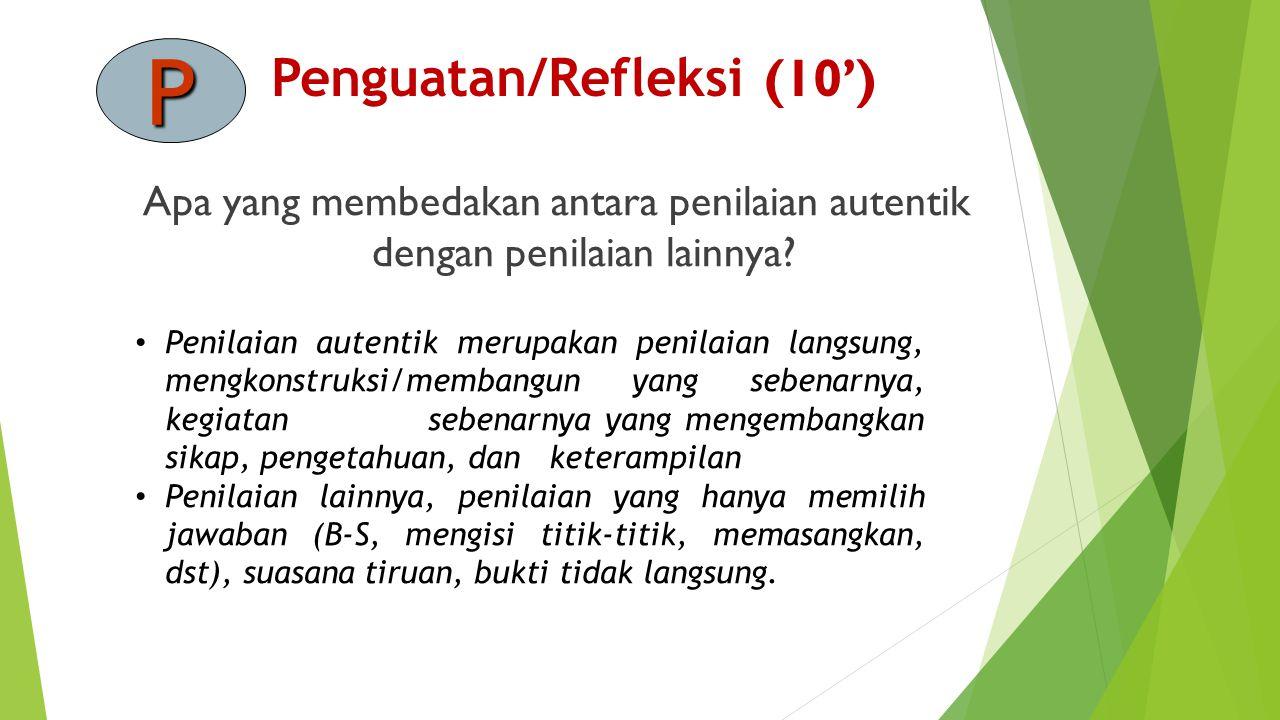Penguatan/Refleksi (10')
