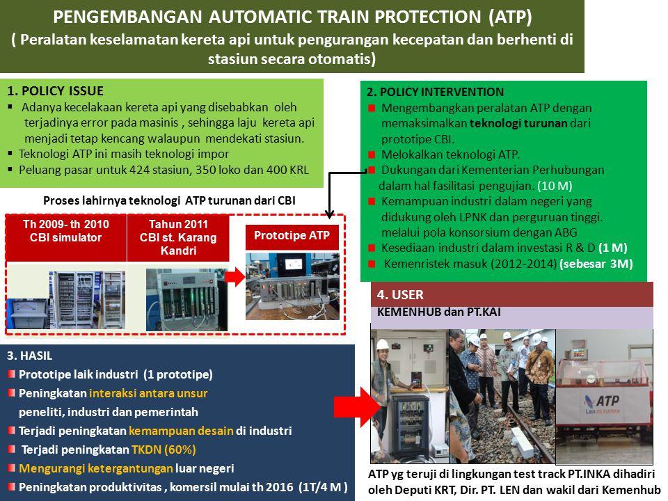 PENGEMBANGAN AUTOMATIC TRAIN PROTECTION (ATP) ( Peralatan keselamatan kereta api untuk pengurangan kecepatan dan berhenti di stasiun secara otomatis)