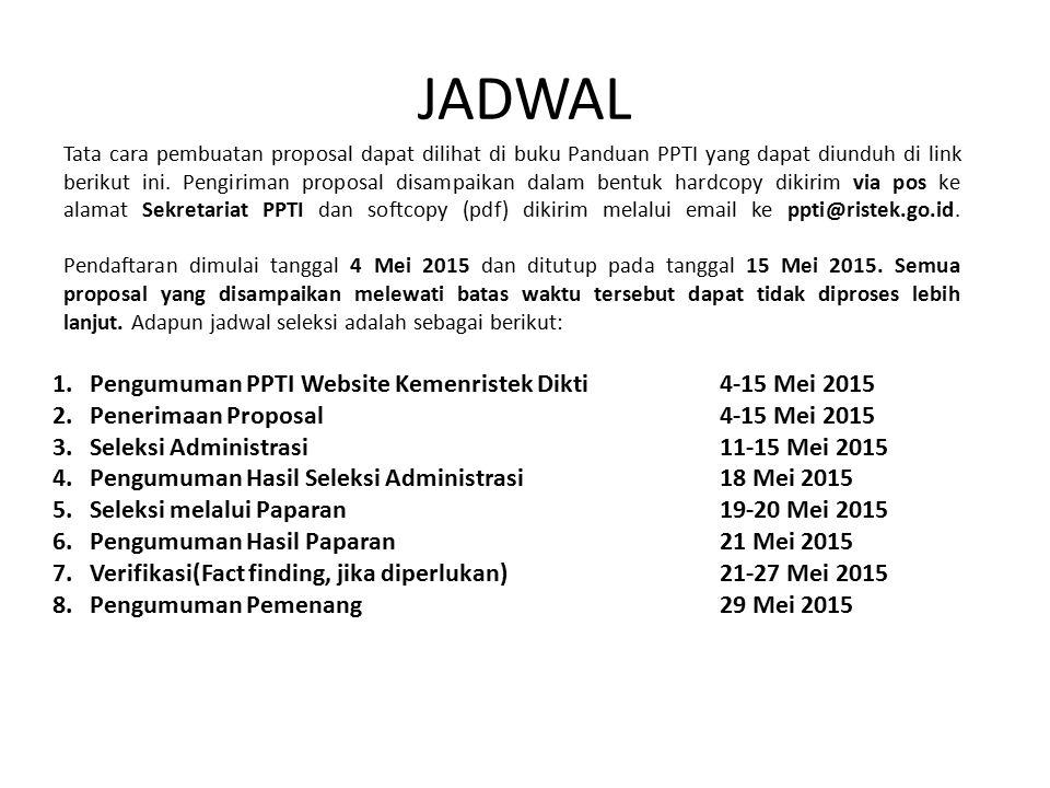 JADWAL 1. Pengumuman PPTI Website Kemenristek Dikti 4-15 Mei 2015 2.